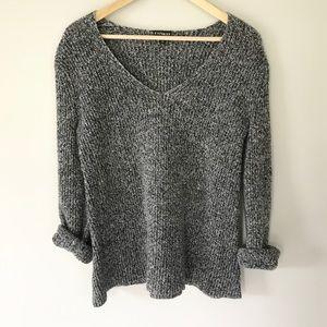 Express Chunky Knit Sweater Wide V Neck Gray